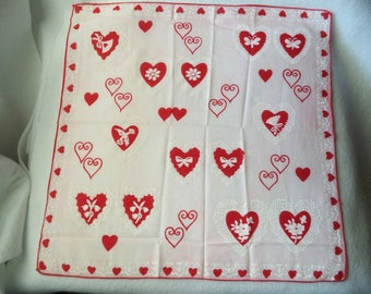 Cute Pink and Red Valentine Handkerchief