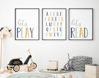 DIGITAL FILES, Set of 3 Playroom Prints, Kids Room Decor, Let's Play Print, Let's Read Printa, Playroom Wall Art, Homeschool Decor, DEEP23