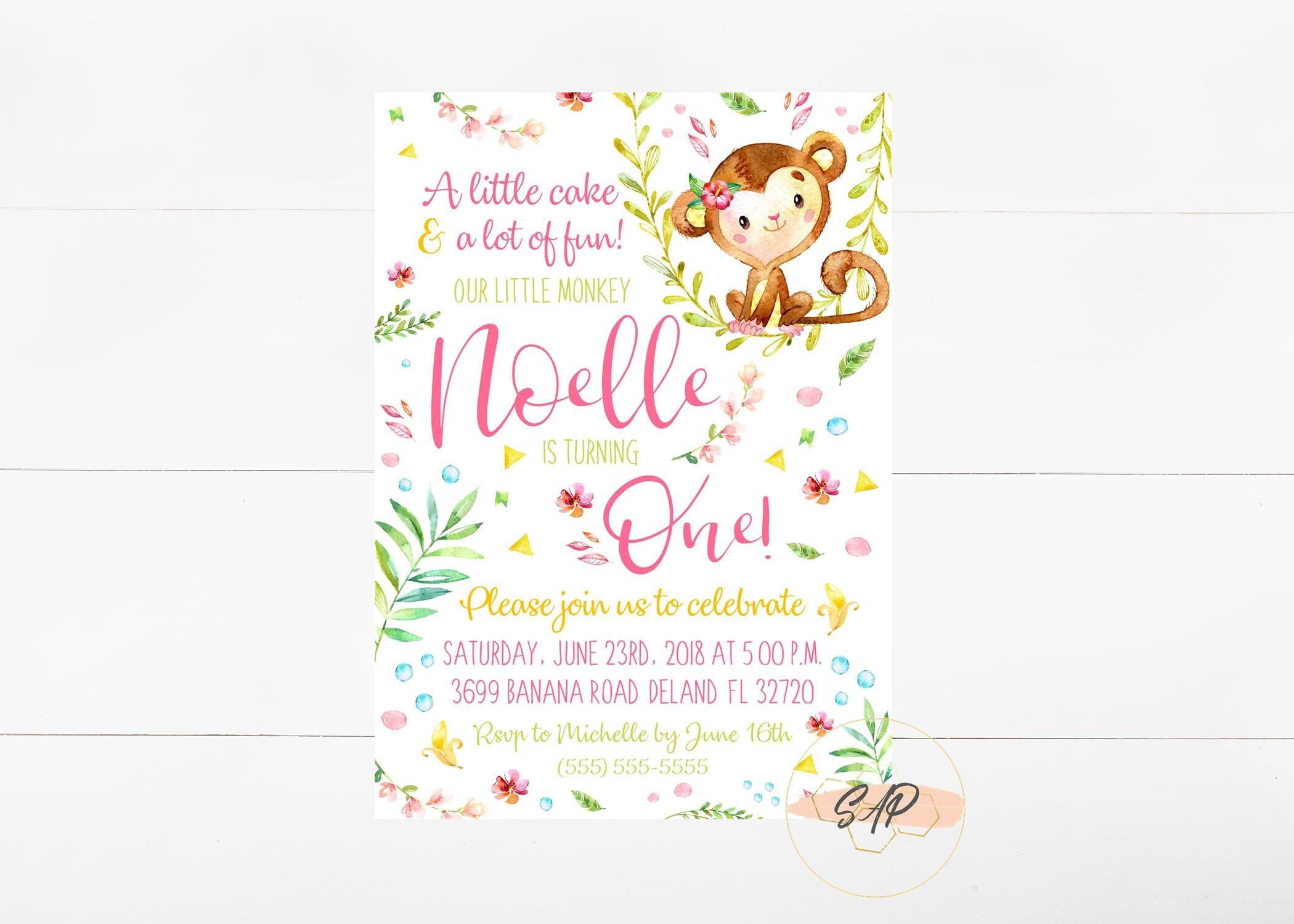 Monkey Birthday Invitation Monkey Birthday Invite First | Etsy