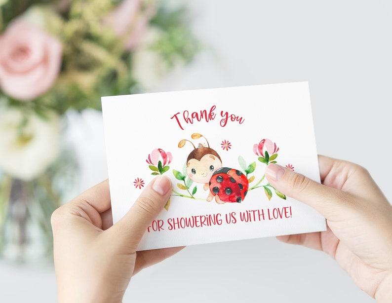 Baby Shower Thank You Cards Ladybug Thank You Cards Baby Shower Thank You Notes Thank You Card Notecards Ladybug Baby Shower Invitation