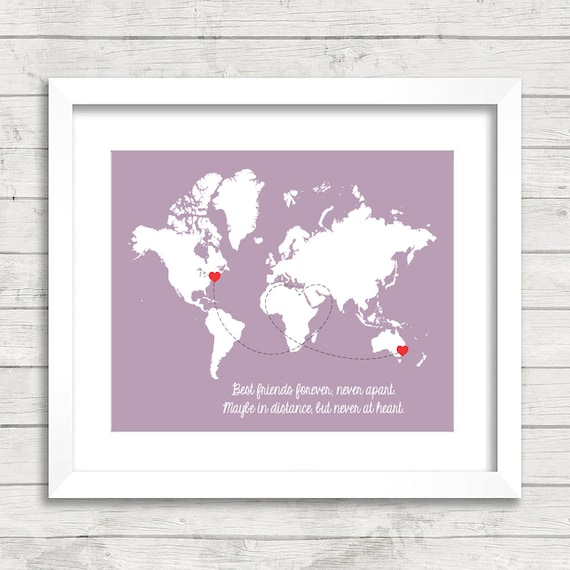 Best Friends World Map Maybe In Distance But Never At Heart Etsy