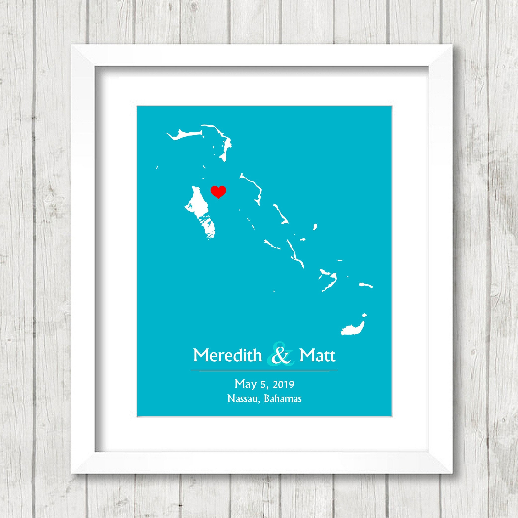 Bahamas Love Map Nassau New Providence Bahamas Wedding Caribbean Wedding Engagement Anniversary Gift Newlyweds Exuma