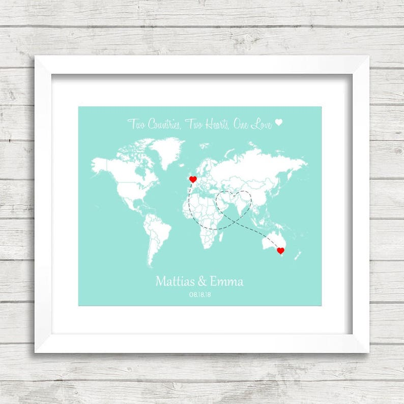 Melbourne Australia World Map.8x10 Custom Love World Map Long Distance Relationship International London United Kingdom Melbourne Australia Wedding Gift Paper Anni