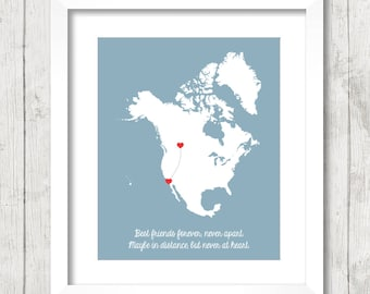 8x10 North America Best Friends Map - Calgary, Alberta, Canada - Los Angeles, California, USA - Long Distance Friendship - Penpals