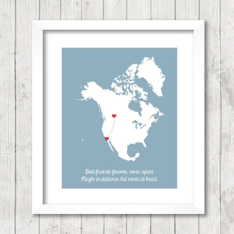 8x10 North America Best Friends Map Calgary Alberta Canada Etsy