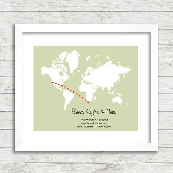 8x10 Love World Map California Usa Cape Town South