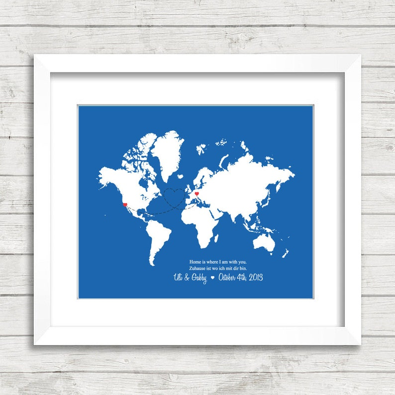 8x10 Love World Map Long Distance Relationship | Etsy