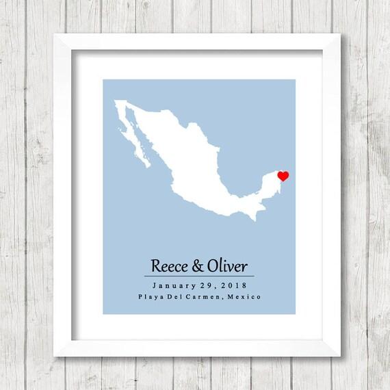 8x10 Mexico Love Map Playa del Carmen Riviera Maya   Etsy