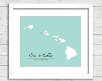 8x10 Hawaii Love Map - Oahu, Hawaii - Hawaiian - State Map - Destination Wedding - Aloha - Wedding, Engagement & Anniversary - Newlyweds