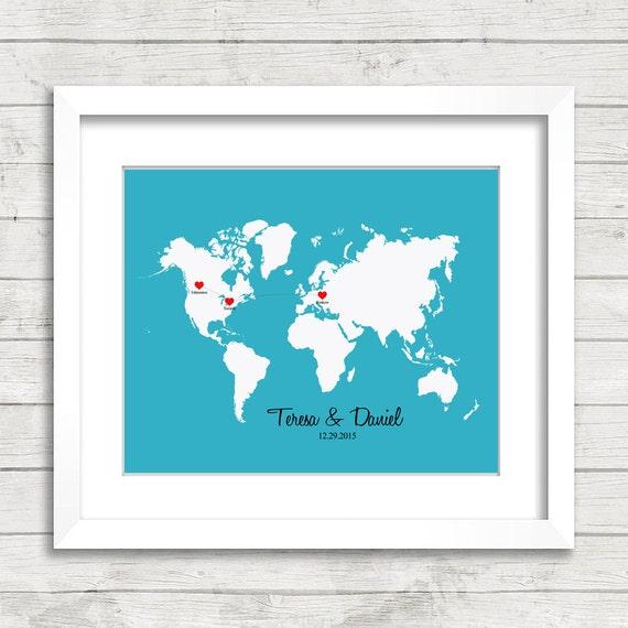 8x10 Love World Map Edmonton Alberta Toronto Ontario | Etsy