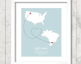 Brazil wedding map | Etsy
