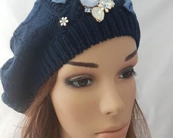 Women Beanie, Blue Beret, Headcover, Dark Blue Tam, Women's Hat, Dark Blue Cotton Tichel, Jewish Head Covering, Chemo Hat ,Chemo Cap