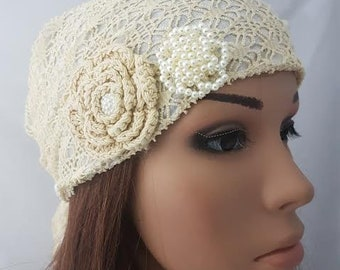 Holiday Tichel, Cream Floral Mitpachat Tichel, Cream Headcover, Jewish Head Cover , Hair Snood, Headwear , Chemo Scarf , Hair Covering