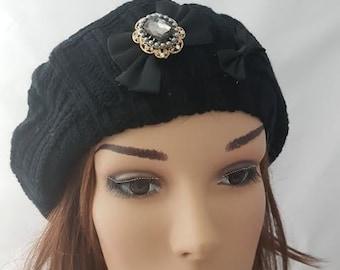 Black Tam, Women Beanie, Black Cotton Tichel, Jewish Head Covering, Headcover, Chemo Hat, Black Beret, Women's Hat ,Chemo Cap