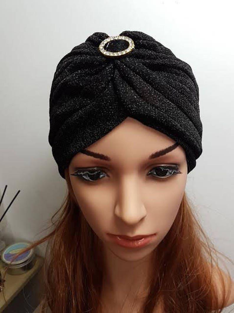 875c61fde50a0 Shimmering Black Turban Head Wrap Shinny Turban Ladies