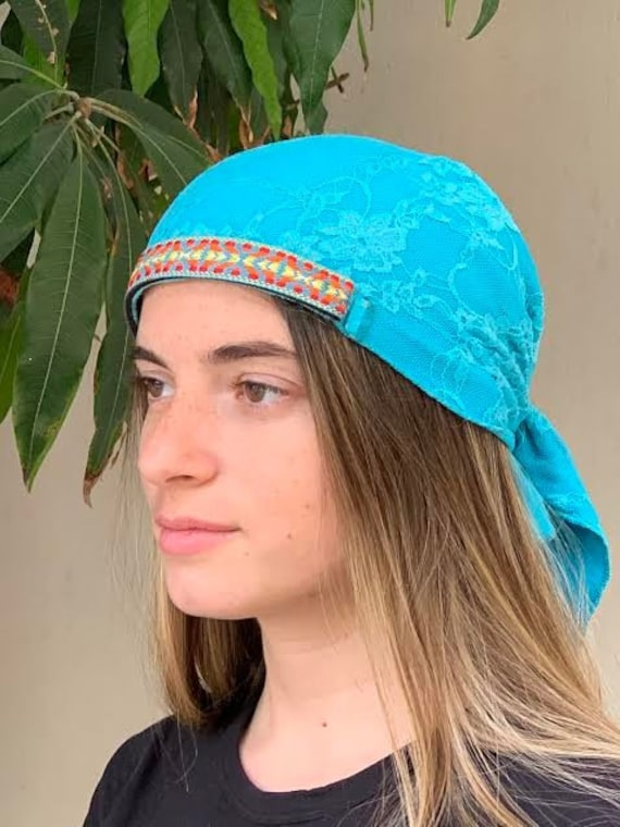 Turquoise Ethnic Headwear Chemo Scarf Young Tichel  e214c267114