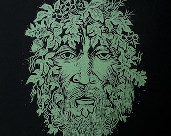 The Green Man - Original hand-carved Linocut Print in Metallic Green on Black with Pagan Nature Symbol, Forest Tree Man/ Spirit/ Nymph