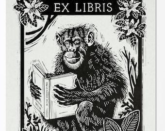 Ex Libris Jane Goodall - Unique Bookplate Illustration Print for Art & Book Lovers