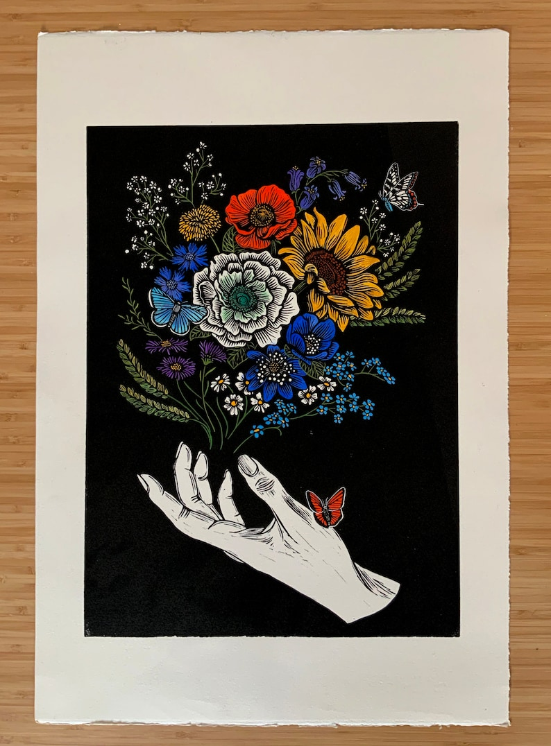 a floral bouquet with sunflower and wildflowers Original hand-carved Linocut Art Print with hand painted embellishment feat Persephone