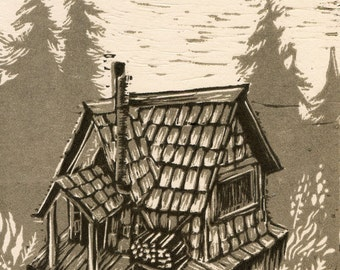 Forest Cabin   Artist original hand-carved reduction linocut print (limited edition)