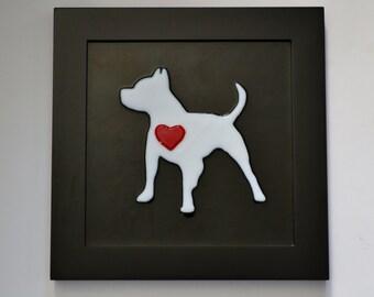 Puppy love II.  Fused glass Pitbull Art