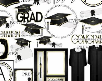 Graduation clip art, MORE COLORS, Black Gold clipart, graduation cap and gown graphics, diploma clipart, graduate, grad, tassel designs