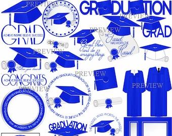 Royal Blue Graduation clipart, MORE COLORS, royal blue white graduate clip art, graduation cap gown graphics, grad, diploma clip art, party