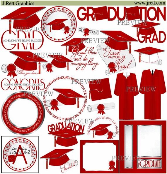 Red Silver Graduation clipart MORE COLORS cap tassel clip | Etsy