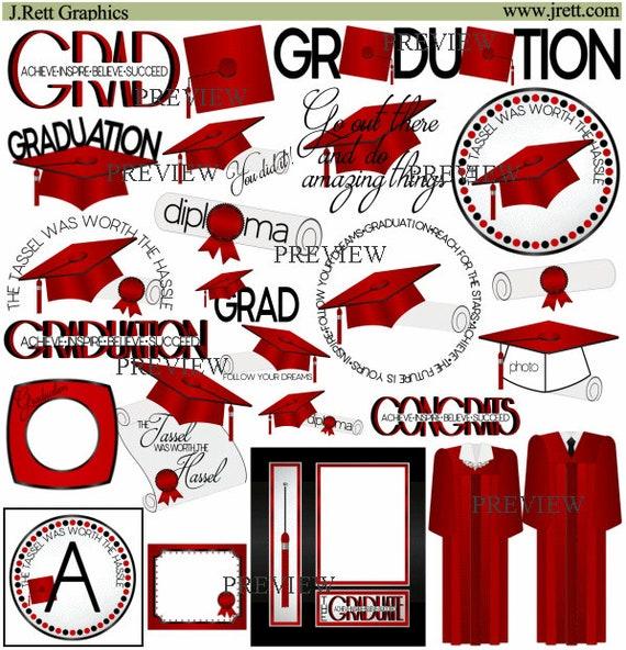 Red Black Graduation clipart MORE COLORS cap tassel clip | Etsy