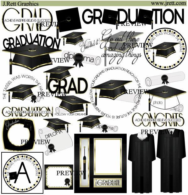 Graduation clip art MORE COLORS Black Gold clipart | Etsy