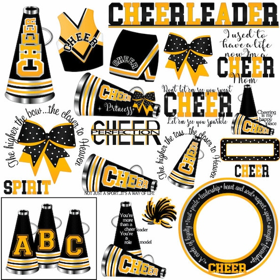 Sublimation Clipart Black and Gold PNG Cheerleader Watercolor for Printing and Crafts PF145 Printable Blonde Hair Digital File