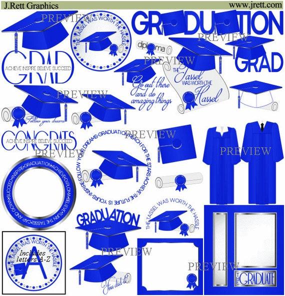 Royal Blue Graduation clip art MORE COLORS royal blue silver | Etsy
