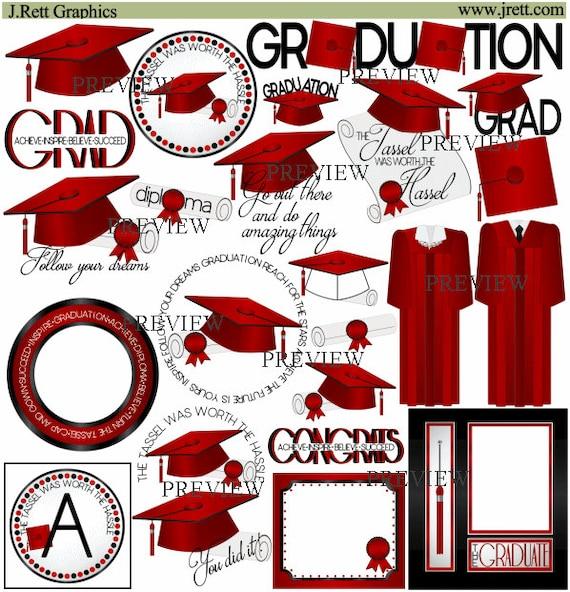 Graduation clip art MORE COLORS Red Black clipart | Etsy