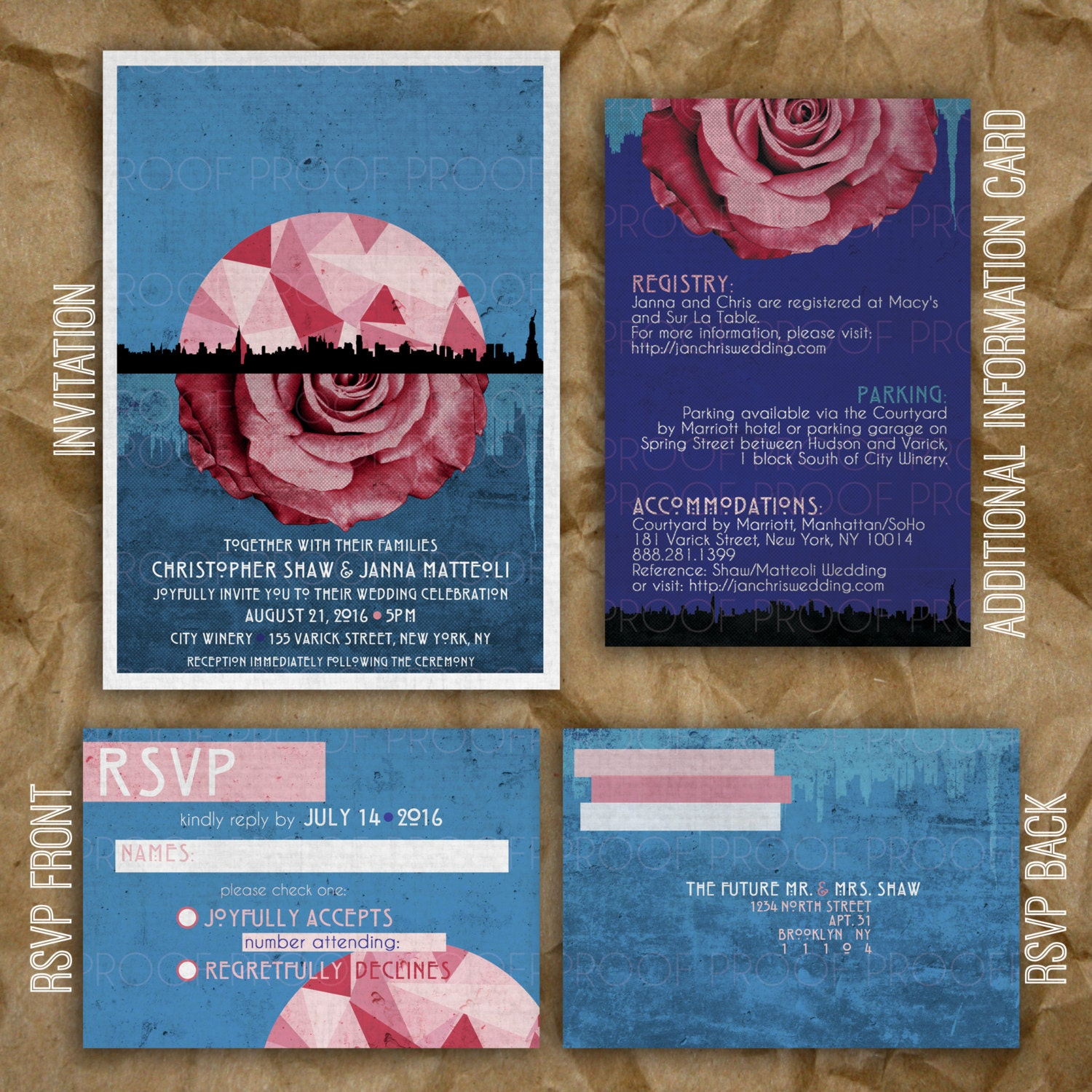 Personalized Skyline Wedding Invitations: Concert Poster Wedding Invitations // Skyline // Abstract