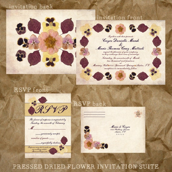 Pressed Flower Wedding Invitation Suite Fall Colors Etsy