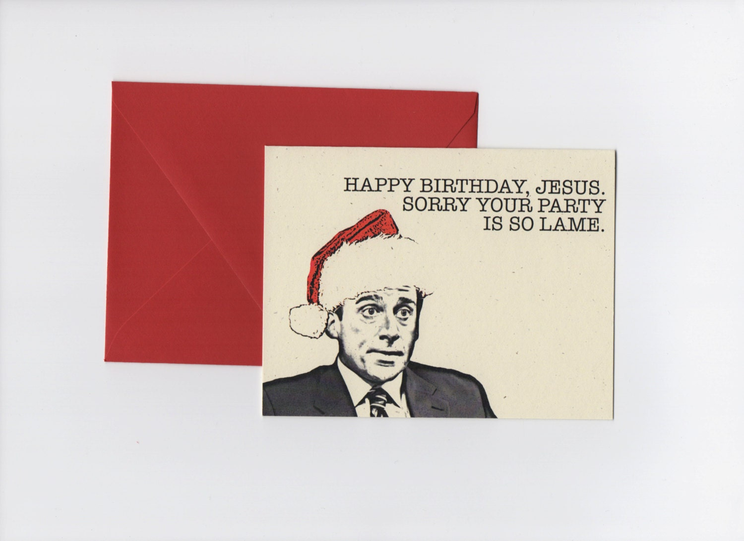 happy birthday jesus michael scott the office christmas card - The Office Christmas Quotes