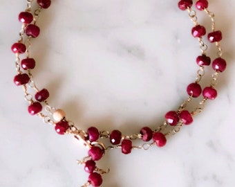 Ruby wire wrapped necklace or bracelet