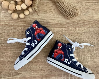8b9d96511903 Spiderman Converse Shoes - personalized chuck taylors - customized converse  -Birthday swag Superhero style