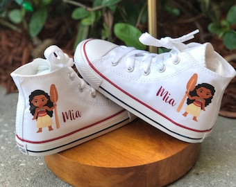 e21b7c8e44d8 Personalized Moana converse - customized chucks - Minnie and Mickey - Disney  Princess Birthday outfit - Birthday gift
