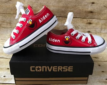 8f25676d1f3d Elmo inspired converse Shoes - personalized chuck taylors - customized  converse - Birthday swag low top converse
