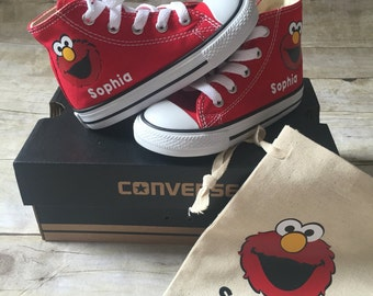 e5383c58f35b Elmo inspired Converse Shoes - personalized chuck taylors - customized  converse -Birthday swag