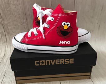 4cb2a5337d84 New Glitter Elmo inspired Shoes - personalized chuck taylors - customized  converse - Birthday party outfit - birthday gift