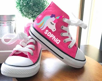 ab3de254c66 Adorable Unicorn Shoes - personalized chuck taylors - customized converse -  Magical Birthday swag high top converse birthday girl