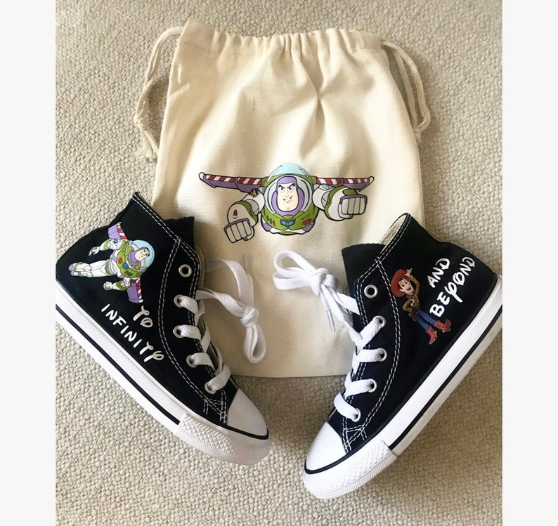 7b18c247876a5 Toy Story Shoes - personalized chuck taylors - customized converse Woody,  Buzz, Jessie - personalized - Birthday swag