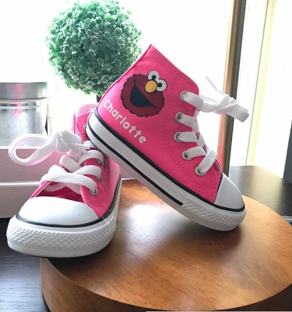 4bf189f90f453 Elmo inspired Shoes - personalized chuck taylors - customized converse -  Sesame Street - Birthday swag