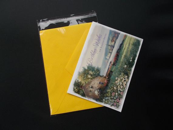 100 PCs 4 3//8 x 5 3//4 Clear A2 Card Resealable Poly Cello Cellophane Bags
