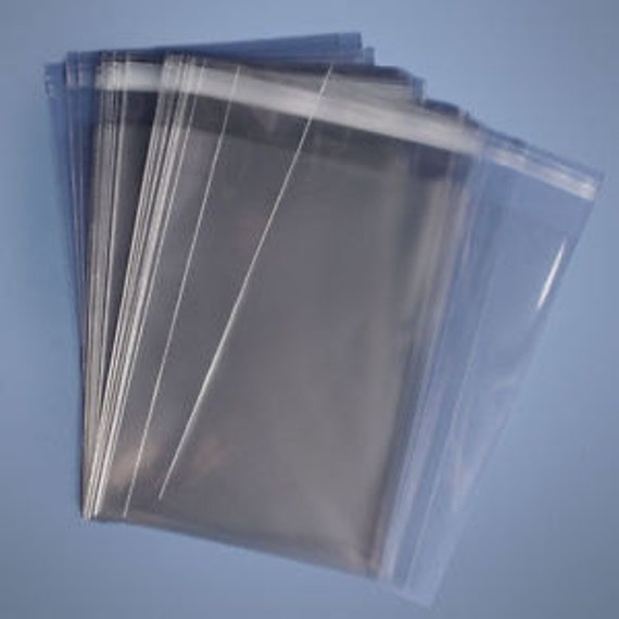 """100 Qty 6 11//16/""""x 6 9//16/"""" CLEAR LIP /& TAPE SELF SEALING RECLOSABLE CELLO BAGS"""