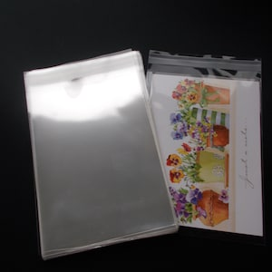 100 clear cello bags for 4x6 card 4 14 x 6 18 resealable clear plastic sleeves acid free envelopes for journal cards photo print - Plastic Sleeves For Cards