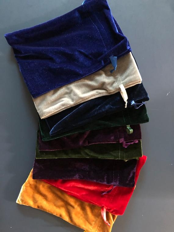 "Drawstring Bag Dice, Rune//Tarot, Gadgets, Jewelry 8/""x6/"" Blue Velvet// Satin"