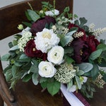 Bridal and Bridesmaids Bouquets, Red Burgundy, Ivory Artificial Flower & Faux Greenery Wedding Bouquet, Peony, Ranunculus, Scabiosa, Astilbe